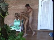 Blonde tranny has anal outdoors